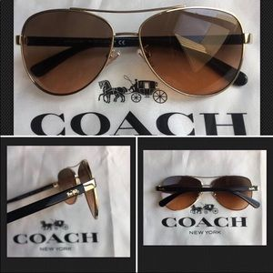 COACH Light Gold w Black Aviator Brown Sunglass
